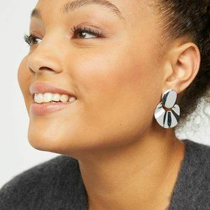 nwt | Lane Bryant Silver Structural Ruffle Earring